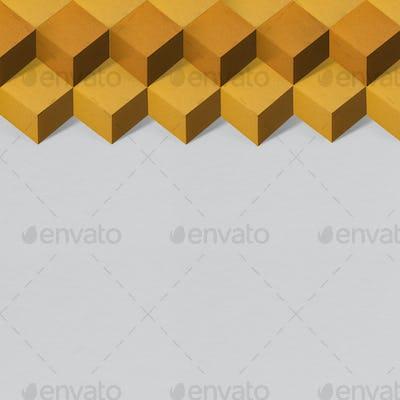 3D orange paper craft cubic patterned background