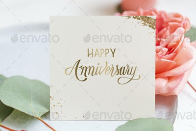 Floral happy anniversary card mockup