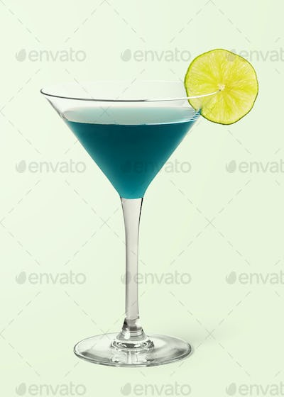 Tropical Blue Lagoon cocktail on background mockup