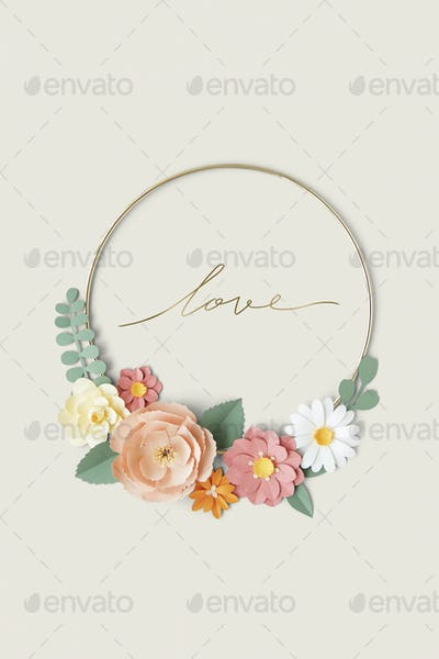 Round gold frame with paper craft flowers mockup