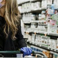 Woman hoarding food during coronavirus pandemic