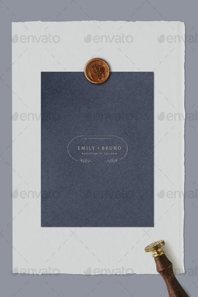 Blue wedding invitation card with wax seal stamp template