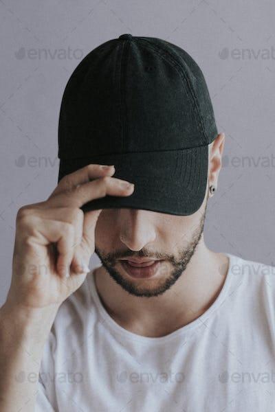 Man with a black cap