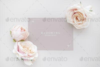 Blank pink card template mockup