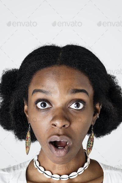 Surprised black woman