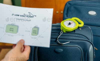 Low cost airlines luggage restrictions and baggage on background