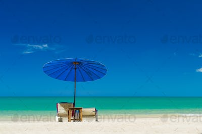Umbrellas and sunbeds on the beach