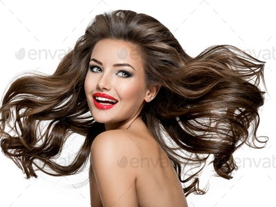 Beautiful laughing brunette hair and bright make up.