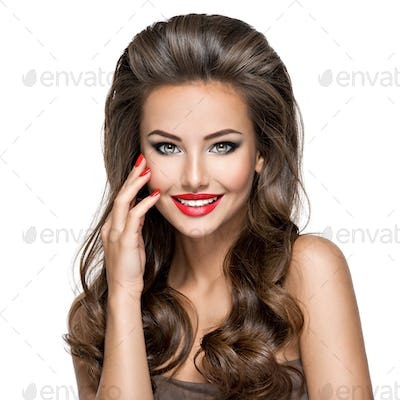 Beautiful smiling model with long hair