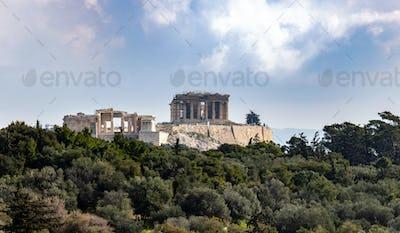 Acropolis rock view from Filopappou hill, Athens, Greece.