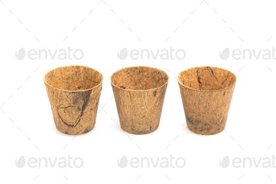 Plant pots made from coconut fiber.