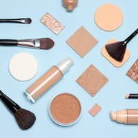 Basic skincare make-up products flat lay. Foundation makeup essentials