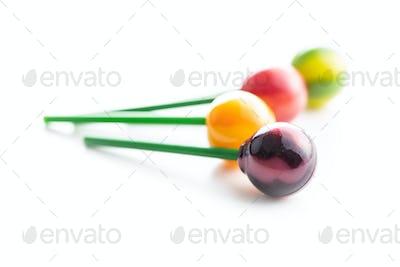 Sweet fruity lollipops.