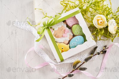 White box with easter cookies in various form