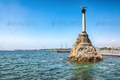 Iconic monument to the sunken ships in Sevastopol Bay.
