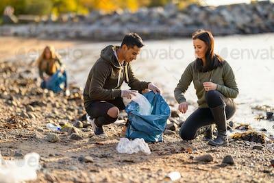 Team of hard working volunteers collecting plastic garbage at beach