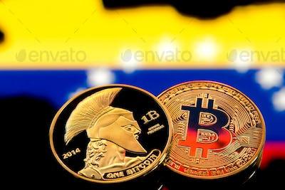 coins Bitcoin, amid Colombia flag, concept of virtual money, close-up. Conceptual image.