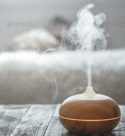 Humidifier on the table in the living room.