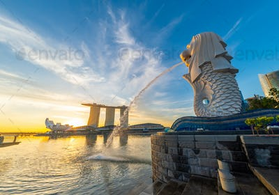 Singapore Merlion Park downtown Singapore  business district