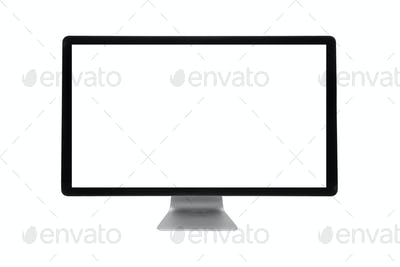 modern computer with blank display isolated on white background, template