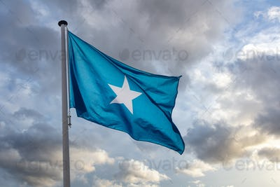 Somalia flag waving against cloudy sky