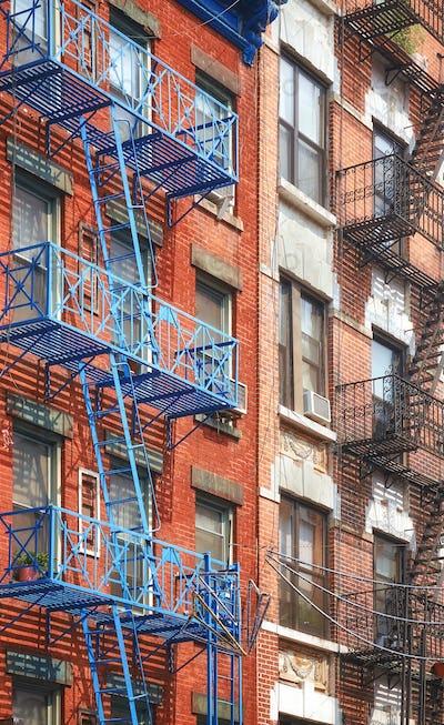 New York blue fire escape