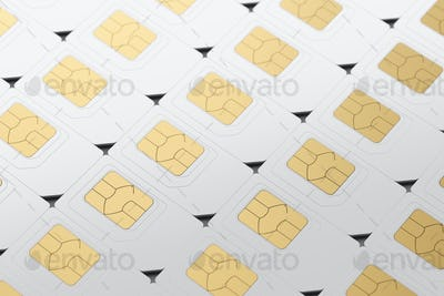 SIM cards arranged in a row. 3D rendering illustration.