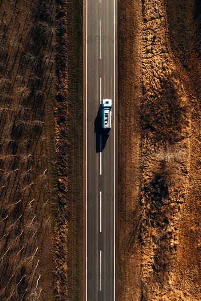 Gasoline fuel tank truck on the road from above