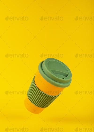Restaurant corporate style design. Orange Cardboard Coffee Cup of Coffee Mockup