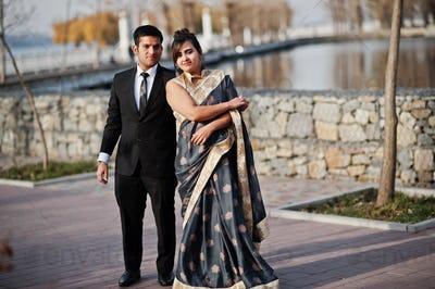 Elegant and fashionable indian friends couple