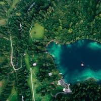 mountain lake aerial view