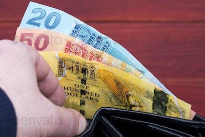 Money from Fiji in the black wallet