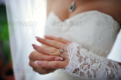 hands of bride with ring