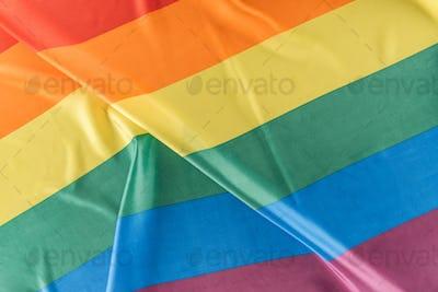 top view of creased lgbt pride flag