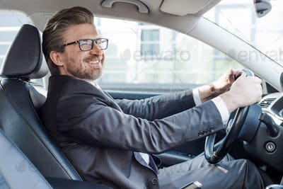 happy bearded ambassador holding steering wheel while driving car