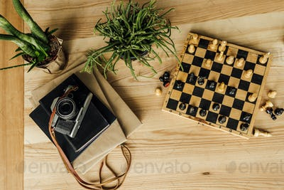Above view of chess board with chess pieces, potted plant and vintage camera on the top of books