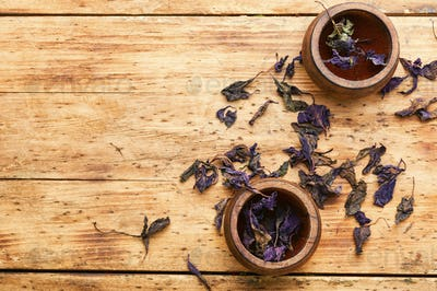 Pile of dried basil seasoning,natural basil spice