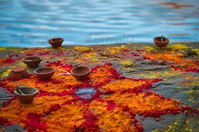 Oil Lamp Pooja Diya Lamp on ghats in Jodhpur, Rajasthan, India