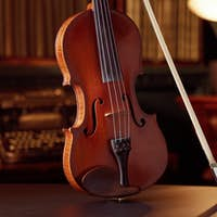 Violin in retro style and bow, closeup view