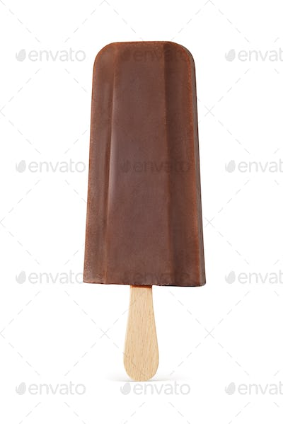 Brown chocolate popsicle ice cream isolated on white.