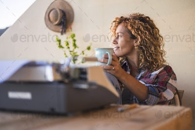 Hipster people enjoy the outdoor leisure working activity outdoor in alternative office workstation