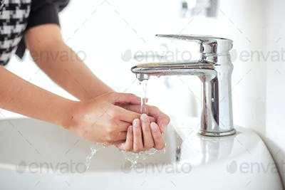 Washing Hand with water tap