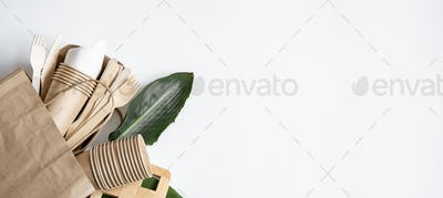 Disposable paper tableware with natural leaves copy space.