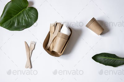 Composition with a set of disposable paper utensils and natural leaves copy space.