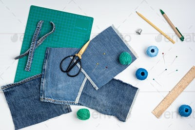 Old jeans upcycling idea. Crafting with denim, recycling old clothers, hobby, diy activity