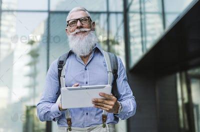 Senior hipster with stylish beard portraits