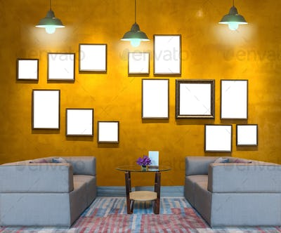 Lobby area of a hotel over the Vintage wall background with photo frame with lighting,