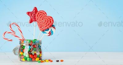 Various sweets assortment. Candy, bonbon, lollipop