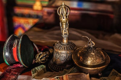 Religious objects in Buddhist monastery