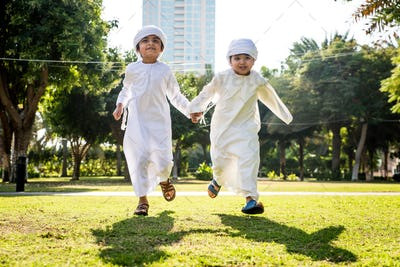 Group of middle eastern kids in Dubai